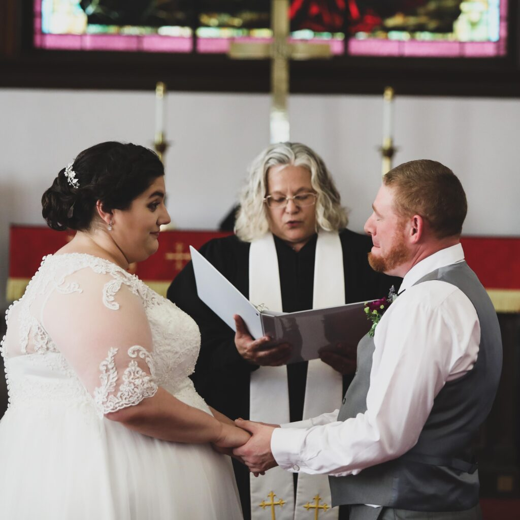 photo of a bride and groom being married