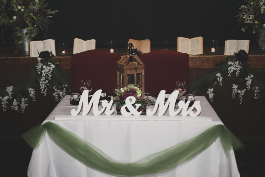 photo of bride and groom mr and mrs table at reception venue