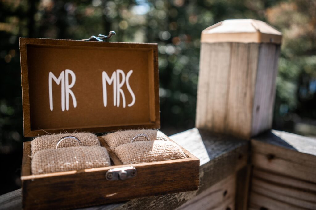 photo of a ring box holding wedding bands that says mr and mrs