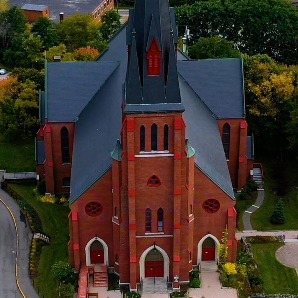 aerial drone photo of a church