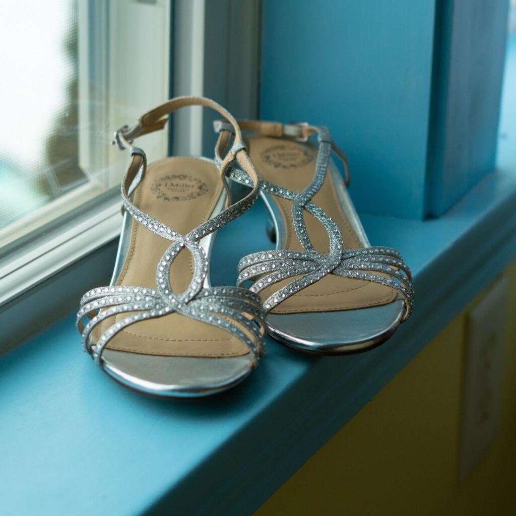up close photo of bride's shoes